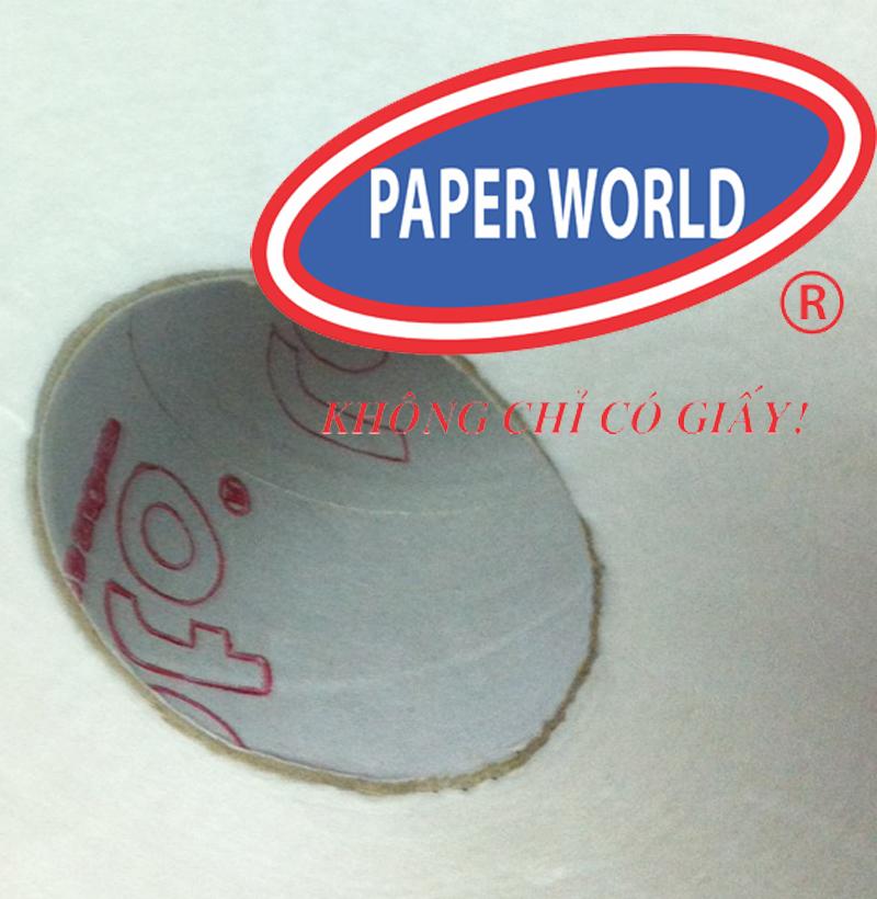 lõi giấy duplex trắng và in logo chống hàng giả trong từng cuộn giấy