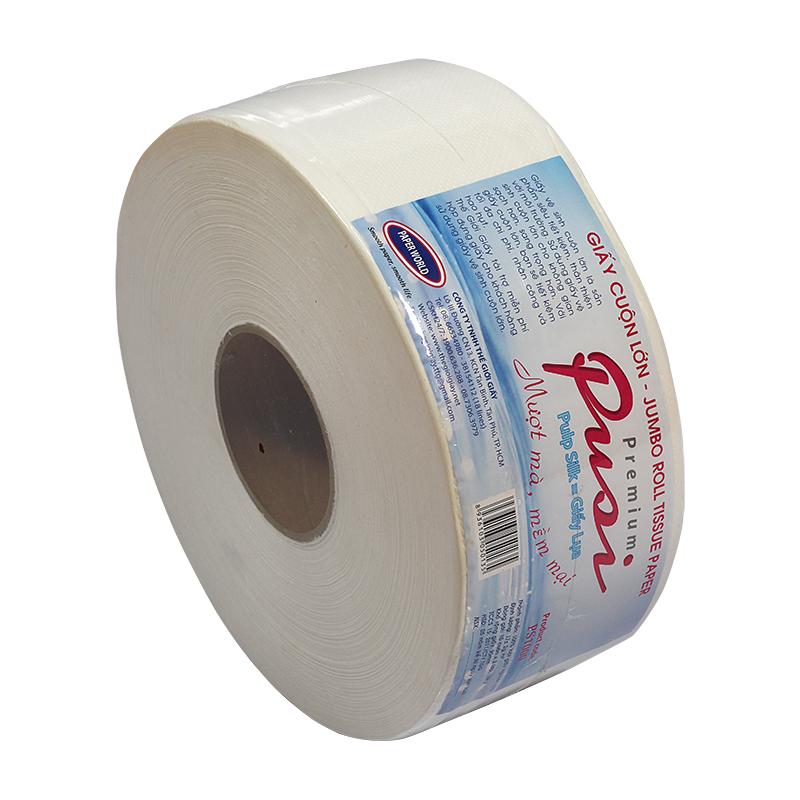 Mặt cắt giấy vệ sinh cuộn lớn Pusi đều đẹp dứt khoat