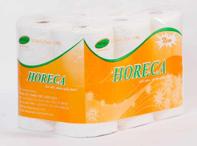 Sản phẩm giấy vệ sinh horeca vàng được đóng gói 12 cuộn/ 1 lốc