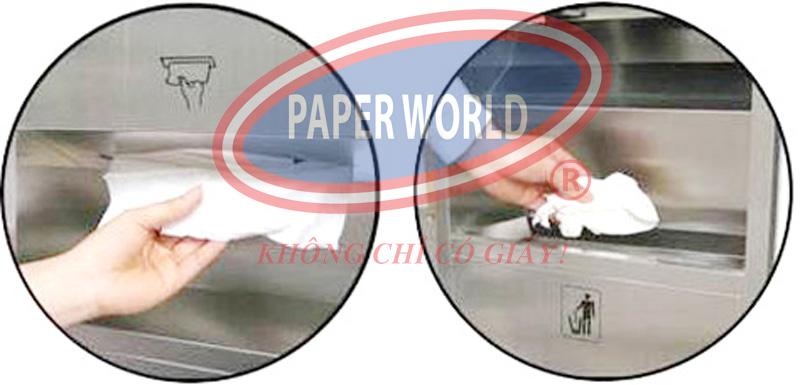 Cây đựng giấy lau tay âm tường giúp vừa có thẩ lấy giấy, vừa đựng rác dễ dàng
