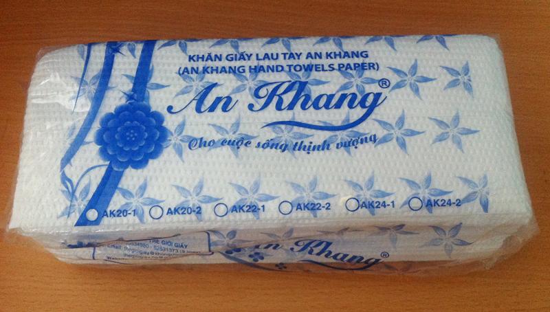 Đóng gói giấy lau tay An Khang 24 1 lớp cao cấp