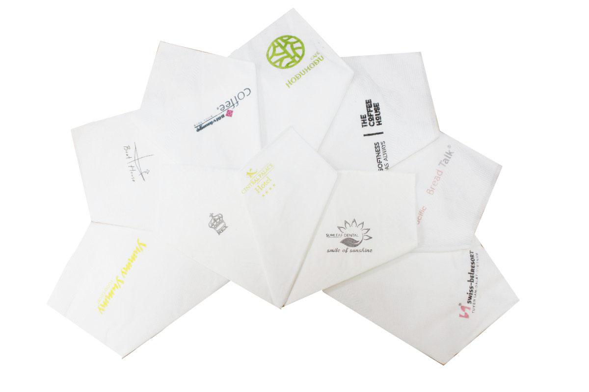 Khăn giấy in logo các thương hiệu công ty