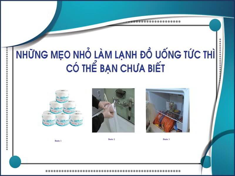 Những mẹo nhỏ làm lạnh đồ ăn bằng giấy vệ sinh thegioigiay.net