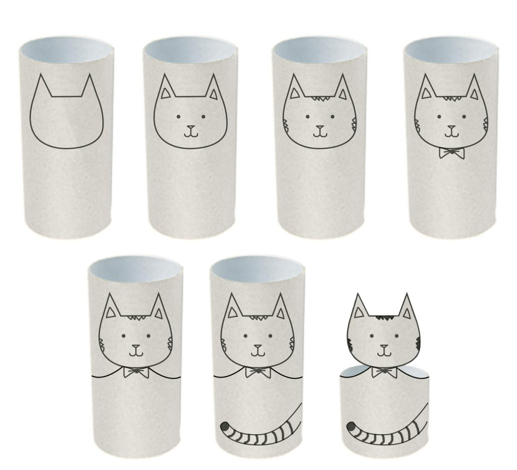 Chú mèo dể thương được làm từ lõi giấy vệ sinh