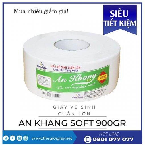 Giấy vệ sinh cuộn lớn An Khang Soft900-thegioigiay.net