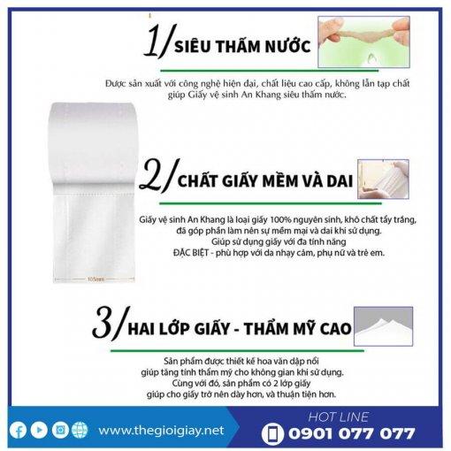 Đặc điểm của giấy vệ sinh cuộn nhỏ An Khang Soft10-thegioigiay.net