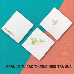 Khăn giấy in logo thương hiệu trà sữa