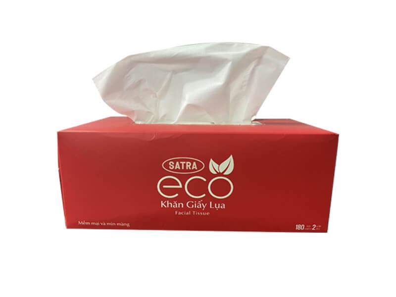 Hộp đựng khăn giấy in logo Thương hiệu Satra Eco