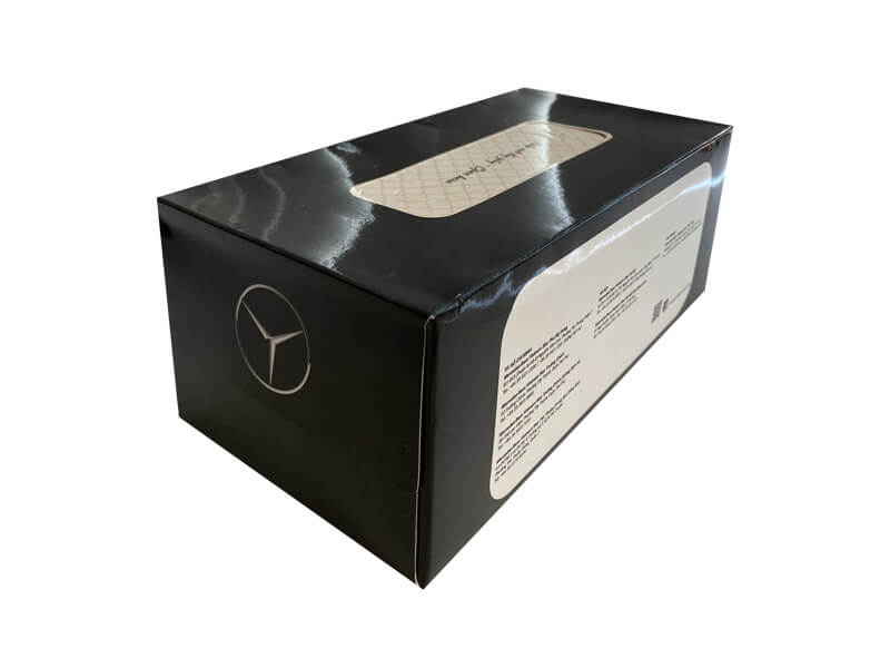 Hộp đựng khăn giấy in logo thương hiệu xe Mercedes