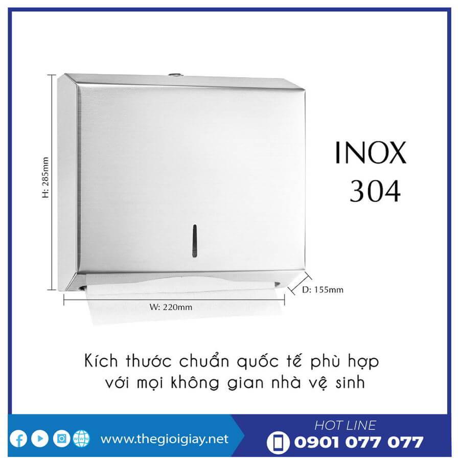 Kích thước hộp đựng giấy lau tay roto1220I bằng inox-thegioigiay.net