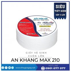 Giấy vệ sinh cuộn lớn An Khang Max210-thegioigiay.net