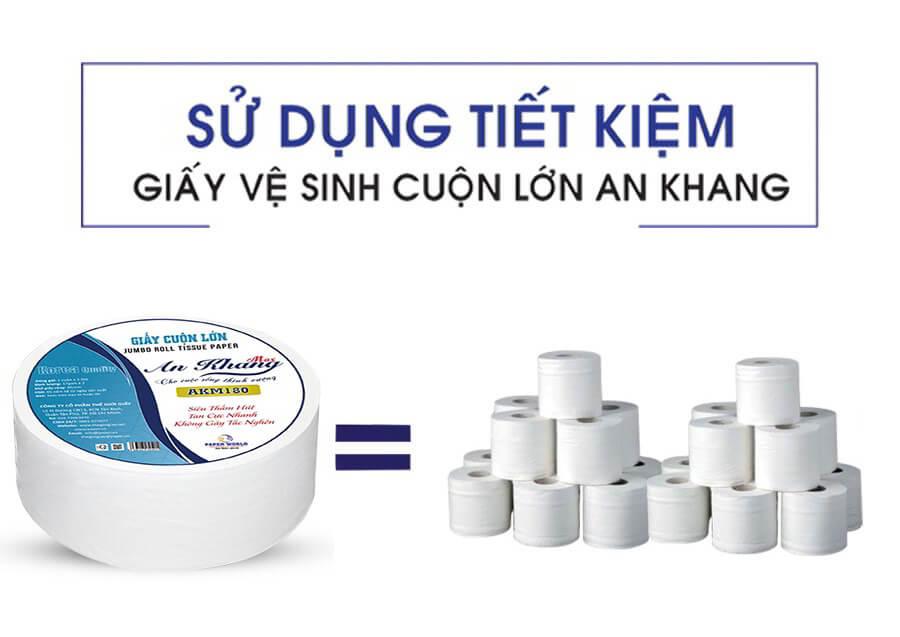 Sử dụng giấy cuộn lớn An Khang Max180 tiết kiếm hơn so với dùng cuộn nhỏ thông thường
