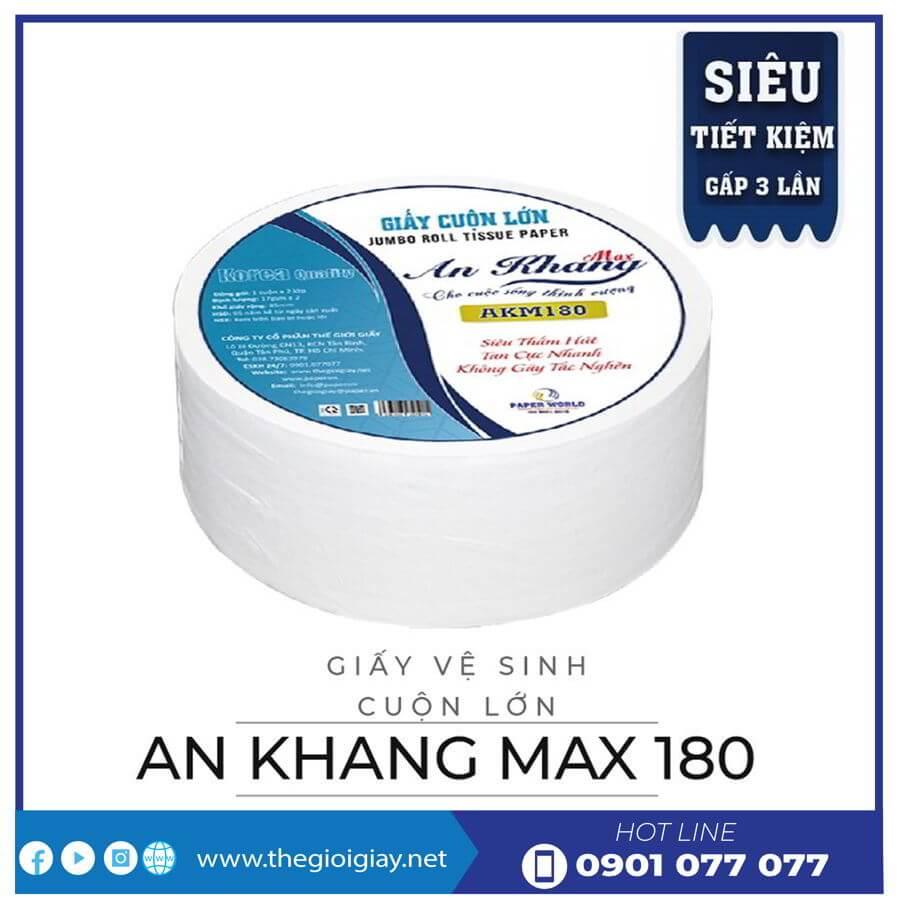 Giấy vệ sinh cuộn lớn an khang max180-thegioigiay.net