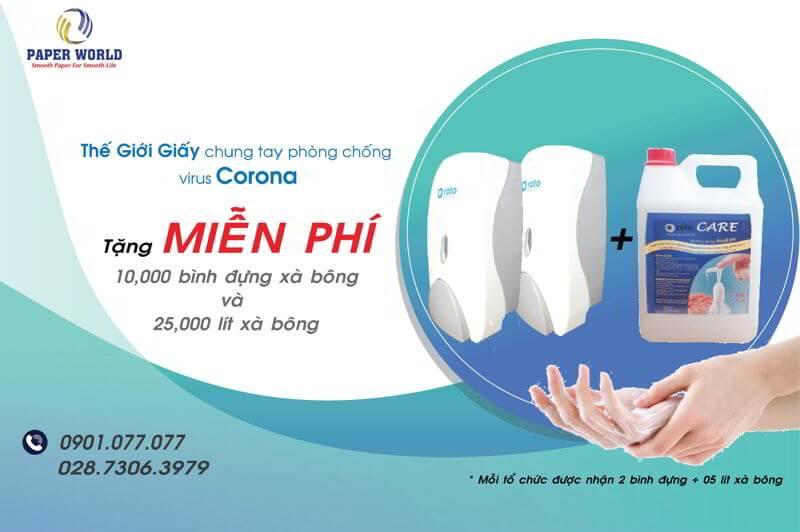 Thế Giới Giấy tặng xà bông rửa tay và bình đựng miễn phí ngăn ngừa virus conora