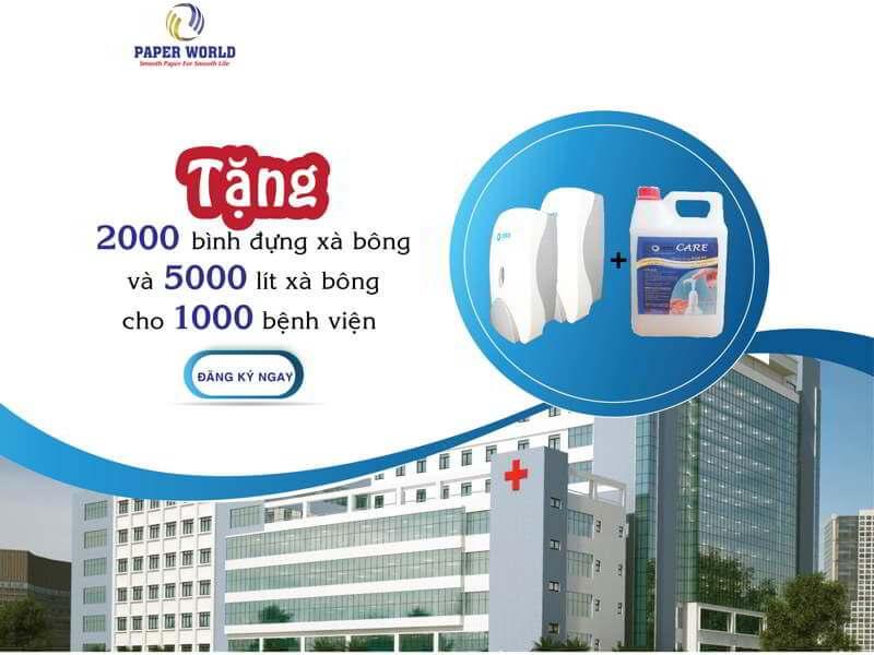 Tặng xà bông rửa tay diệt khuẩn cho bệnh viện