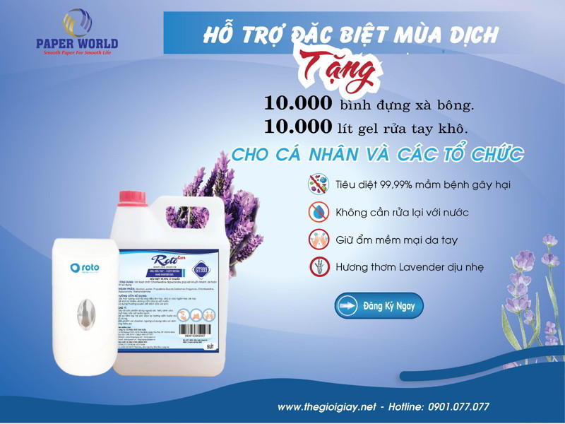 Thế Giới Giấy Tặng 10000 lít gel rửa tay khô sạch khuẩn miễn phí phòng chống covid-19