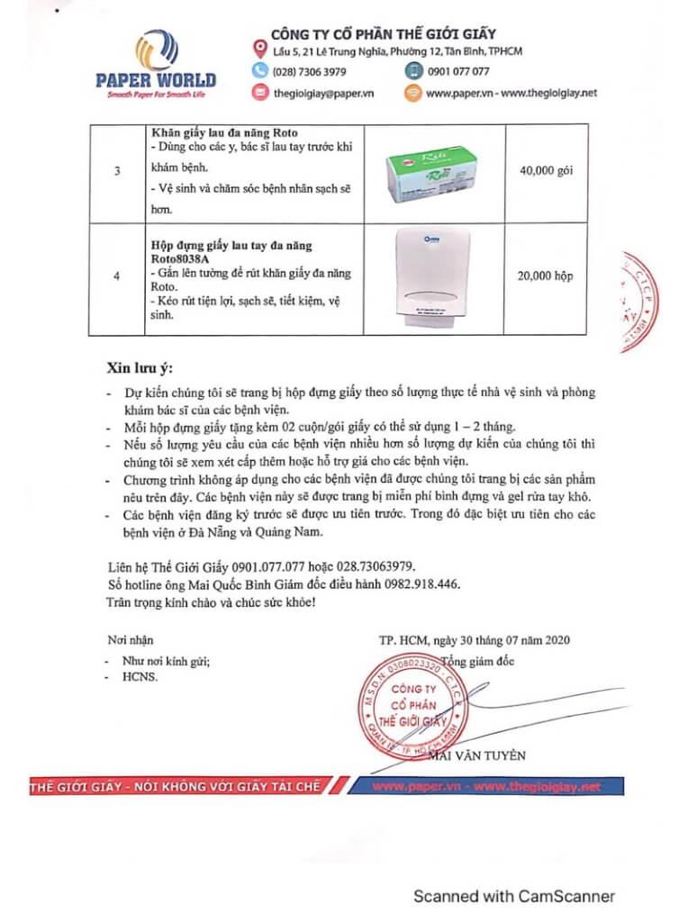 Thông báo tặng giấy cho các bệnh viên phòng chống covid-19