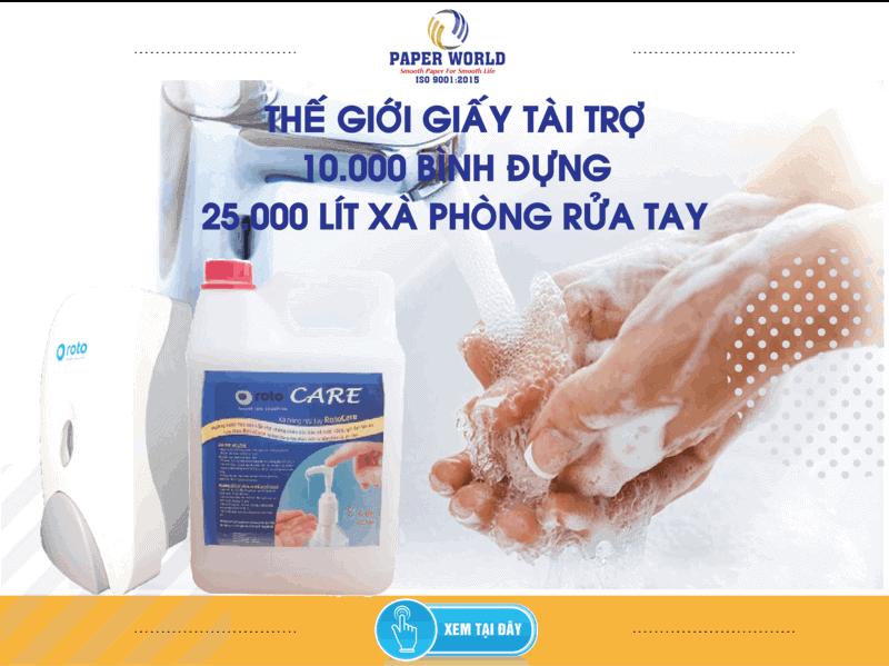 Thế Giới Giấy tặng 10,000 bình đựng 25,000 lít xà bông rửa tay ngăn chặn virus Corona