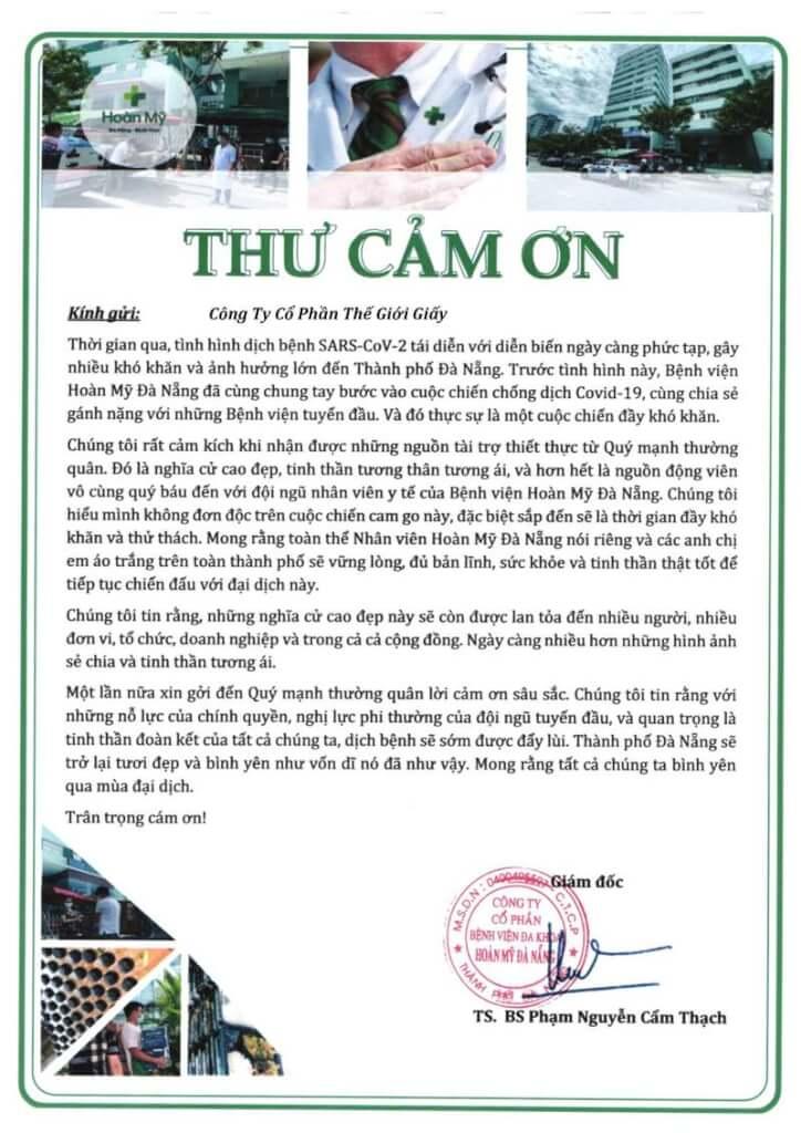 Bệnh viện Hoàn Mỹ Đà Nẵng gửi thư cảm ơn Thế Giới Giấy