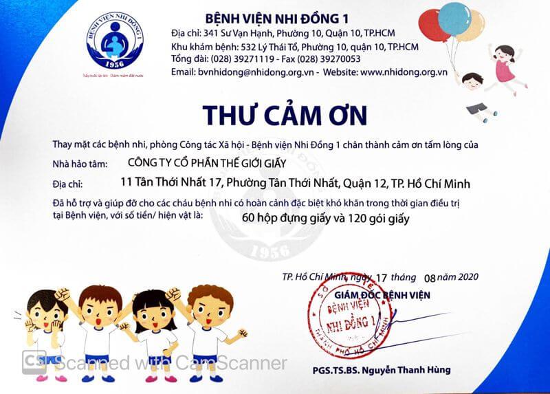 Bệnh viện Nhi Đồng 1 gửi thư cảm ơn Thế Giới Giấy