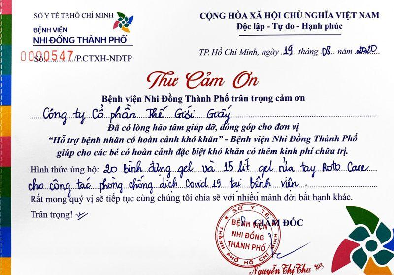 Bệnh viện Nhi Đồng Thành Phố gửi thư cảm ơn Thế Giới Giấy